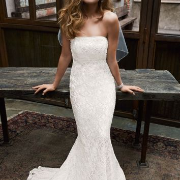 Allover beaded lace gown with empire waist. - David's Bridal- mobile
