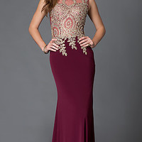 Long Sleeveless Prom Dress with Lace and Jewel Embellished Sheer Bodice