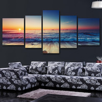 5pcs/set photography scenery modern wall art pictures for living abstract canvas print painting murals sitting room home deco