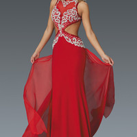 G2145 Red Cut Out Jersey Prom Dress with Chiffon Floating Train