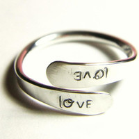 Silver Love Wrap Ring Custom Name Word Special