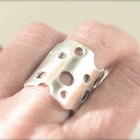 Hole ring cheese ring bubble ring Sterling by GoldFingerBarcelona