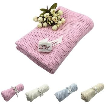 Baby Newborn Soft Warm Cotton Solid Color Knitted Crochet Rectangle Blankets