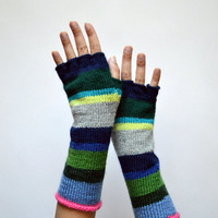 Colorful Half Finger Wool Gloves - Color Blocking Gloves - Long Striped Gloves- Fall Accesories - Teens Gloves - Fashion Gloves nO. 119.
