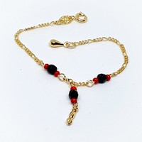 1-0804-g5Gold Filled Kids' Azabache Bracelet with Figa Fist. (azabache con manito)
