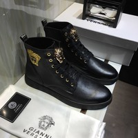 Versace Men Casual Shoes Boots fashionable leather Fashion Casual Sneakers Sport Shoes