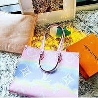 Louis Vuitton Trendy Large Capacity Handbag Tote Bag Rainbow Contrast Color Letter Print Fashion Ladies One Shoulder Messenger Bag