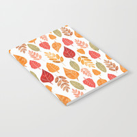 Painted Autumn Leaves Pattern Notebook by Tanyadraws