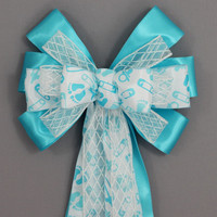 Blue Baby Feet Baby Shower Bow