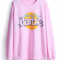 BARBIE California Dreamin Pink Pullover Sweatshirt