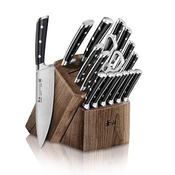Cangshan TS Series 1020885 Swedish Sandvik 14C28N Steel Forged 17-Piece Knife Block Set, Walnut