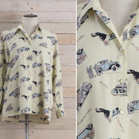 Vintage 1980s Car & Motorcycle Shirt / Automobile Novelty Cream Print Button Up Blouse / 30s Mood Rare Unique Large L Shirt