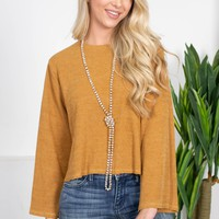 Caramel Ribbed Simple Top