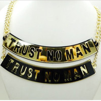 gold plated TRUST NO MAN chain necklace by CrystallizedCreation