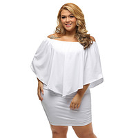 Plus Size Multiple Dressing Layered White Mini Poncho Dress