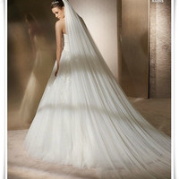 3 meters long double soft net long section of White Wedding Veil Bride veil tail veil TS135 = 1929352580