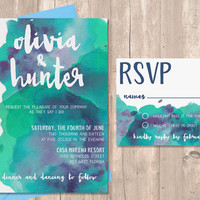 Watercolor Wedding Invitation Set, with RSVP Card, PRINTABLE Invitation, Digital Files