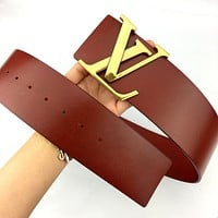 Louis Vuitton LV tide brand female models simple classic letter buckle belt Red
