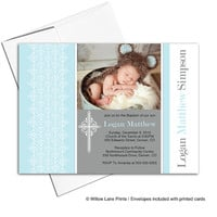 Printed or printable baptism invitation boy | blue and brown baby boy Christening invitation with picture - WLP00205