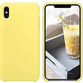 iPhone X Case, iPhone X Silicone Case, Xperg Slim Liquid Silicone Gel Rubber Shockproof Case Soft Microfiber Cloth Lining Cushion Compatible with iPhone X 5.8 inch (2017), Yellow