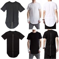 Men's Longline Curved Hem T-shirt Tops Fashion Long Tee Casual Extended Shirts
