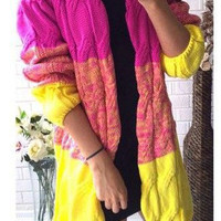 Pink Yellow Long Sleeve Knit Cardigan