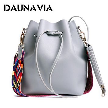 Women Bag With Colorful Strap Bucket Bag Women PU Leather Shoulder Bags Crossbody Messenger Bags