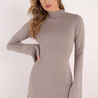 On Your Side Slit Sweater Dress