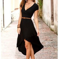 BELTED FAUX WRAP HI-LOW DRESS