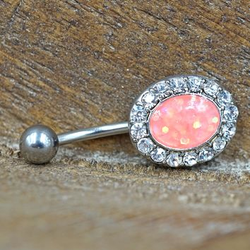 Pink Opal Belly Button Ring Glitter