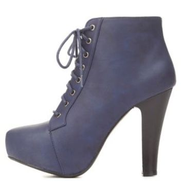 High Heel Lace-Up Platform Booties by Charlotte Russe - Navy