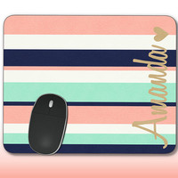 Monogram Mouse Pad Coral Mint Navy Stripes Gold Tan Name Heart Mousepad Custom Personalized Mouse pad Monogrammed Coasters