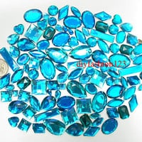 100 pcs lot --- Sew-On Gems / Beads --- Teal Mixed Shapes Flat Back Gems -- ( Mixed size 6mm - 40mm has thread holes )