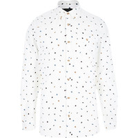 River Island MensEcru micro repeat leaf print shirt