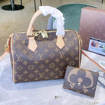 Bunchsun Louis Vuitton LV Fashion Women Shopping Leather Tote Handbag Shoulder Bag Wallet Purse Set Two-Piece