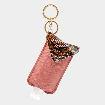 Snake Skin Faux Leather Case With Empty Hand Sanitizer Bottle Set Key Chain