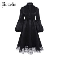 Rosetic Gothic Vintage Dress Women Autumn Black Mesh Lace A-Line Fashion Lolita Lantern Sleeve Princess Preppy Retro Goth Dress