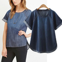 Popular Fashionable Pullover Jeans Round Necked Short Sleeve T-shirt b2425