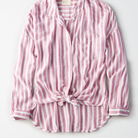 AE Striped Oversized Button Up Shirt, Mauve