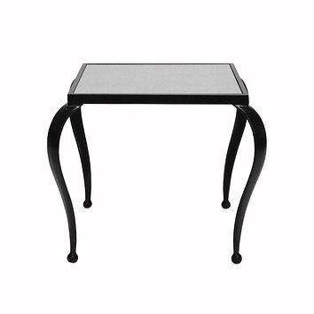 Moseley Side Table with Antique Mirror Top & Black Frame