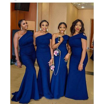 Mermaid Blue Bridesmaid Dresses, Bridesmaid Dress For Wedding BM0018