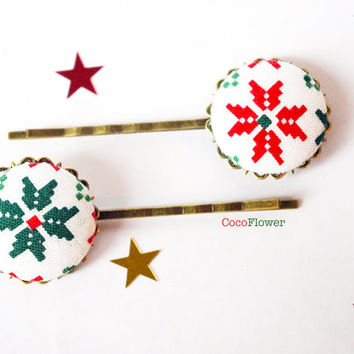 Christmas Snowflake hair pins - Ugly Sweater Party Hair accessories for women - red green hair piece - Winter bobby pins