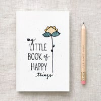 Mothers Day Gift, Hand Lettered Mini Journal & Pencil Set - My Little Book of Happy Things - Illustrated