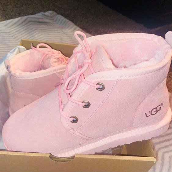 Image of UGG hot-selling snow lace-up Martin boots fashion simple hand-sewn non-slip high-top boots fashion men and women Shoes Pink