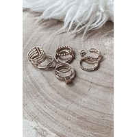 Evens Are In Gold 8 Piece Ring Set
