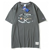 Champion New fashion letter camouflage logo print couple top t-shirt Gray