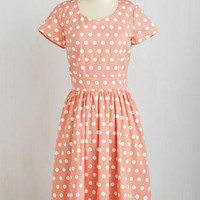 Long Short Sleeves A-line Connect the Dotted Dress