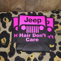 Neon pink Jeep hair don't care koozie