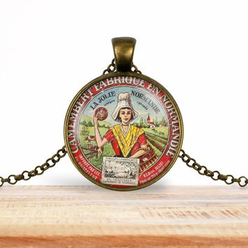 Vintage product label photo pendant - Camembert fabriqué en normandie- foodie necklace, francophile necklace