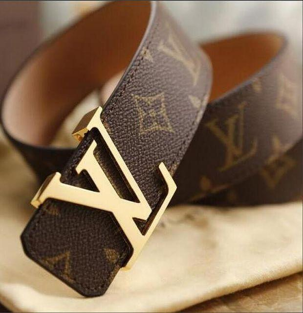 Image of Louis Vuitton LV fashion printed gold and silver buckle belt hot seller for men and women's casual belts Black Belt+Silvery buckle